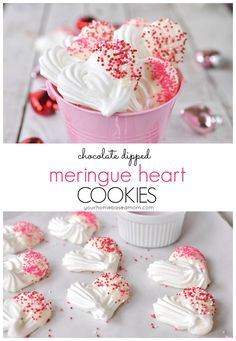 Chocolate Dipped Meringue Heart Cookies - Creating the perfect meringue cookies is easy with this step by step tutorial!
