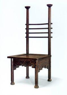 "Charles Rohlfs (1853-1936) - Ladder Back Chair. Oak. Circa 1901. 47"" x 20"" x 22-5/8""."