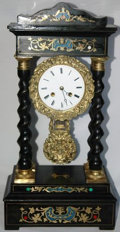 """Antique French, """"Japy Freres"""", Inlaid and Gilded Empire Mantel Clock"""