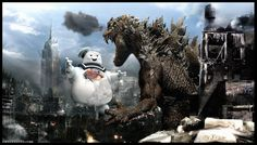 Rabbittooth's Godzilla vs. The Stay Puft Marshmallow Man. BOOM! This will now be my desktop wallpaper on ALL computers.