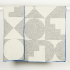 Shapes Blanket - Light with Blue Stitching - Trouva
