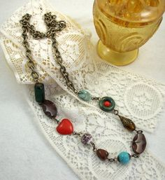 SALE Necklace, Long Beaded Chain with Semi Precious Stones - Free UK P&P £8.40