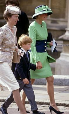 Princess Anne, Prince Harry, and Diana, Princess of Wales walking to St. George's Chapel for the wedding of Lady Helen Windsor on July 18, 1992.