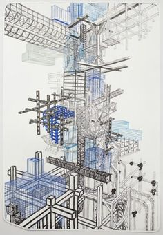 Available for sale from Tamarind Institute, Nicola López, Infrastructure Five-Color Lithograph, 44 × 29 in Dynamic Architecture, Architecture Drawings, Beautiful Architecture, Contemporary Architecture, Contemporary Art, Graffiti Drawing, Dream Art, Artist At Work, Building Design