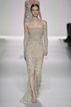 Jonathan Simkhai Fall 2017 Every 2017 bride-to-be needs to see this year's fall runway wedding dress dress inspiration! Engagement party dress or rehearsal dinner outfit! Nude embroidery beaded appliqué floor length dress!