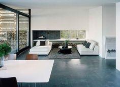 living room; concrete floor
