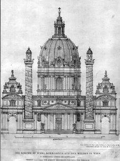 Elevation of Fischer von Erlach& Church of St. Architecture Antique, German Architecture, Renaissance Architecture, Religious Architecture, Classic Architecture, Architecture Drawings, Historical Architecture, Beautiful Architecture, Architecture Details