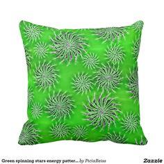 Green spinning stars energy pattern throw pillow