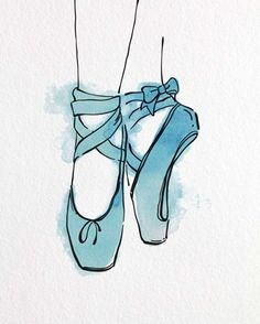 Easy Drawings Framed Ballet Shoes En Pointe Orange Watercolor Part III Print Ballet Drawings, Art Drawings Sketches, Easy Drawings, Ballet Shoes Drawing, Shoe Drawing, Shoe Sketches, Ballet Art, Ballet Dancers, Happy Art