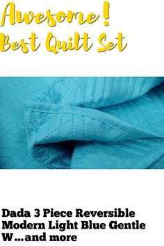 Dada 3 Piece Reversible Modern Light Blue Gentle Wave Bedspread Quilt Set Thin and Lightweight, Full/Double ... (This is an affiliate link) #quiltsets