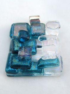 Marine blue fused glass mosaic pendant by FoxWorksStudio on Etsy