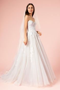 59493e60a5 Bliss BL 17106 by Monique Lhuillier 2017 is a Feminine Lace and Tulle A-Line  Gown with a Strapless Lace Sweetheart Neckline