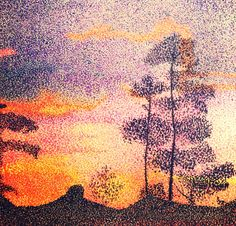 Pointillism sunset. Color marker pens on paper.