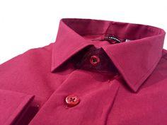 Купить Мужская рубашка бордового цвета однотонная в интернет магазине мужской одежды OTOKODESIGN
