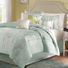 King size 7-Piece Bed in a Bag Comforter Set Floral Jacquard Light Blue Green Sea Mist