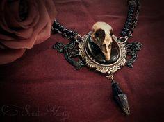 Gothic Victorian Gunmetal Black Glass Onyx Bird Skull Cameo Jewelry Necklace Choker