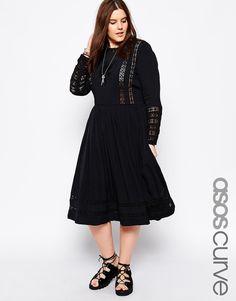 ASOS CURVE Premium Midi Dress with Crochet Insert