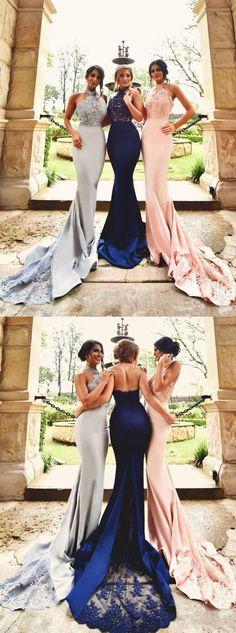 Mermaid Prom Dress Bridesmaid Dresses Halter Neckline Evening Party Dress pst0944
