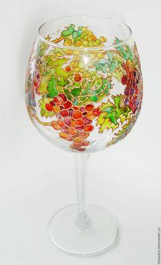 """Бокалы, стаканы ручной работы. Ярмарка Мастеров - ручная работа. Купить Бокалы """"Виноградная лоза"""". Handmade. Салатовый, бокал, стекло"""