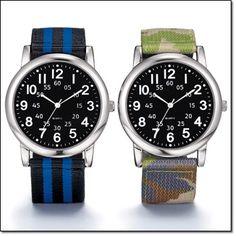 "Men's Nylon Strap Watch* Silvertone case with a 10"" L nylon strap. Cameo or black & blue strips. http://jgoertzen.avonrepresentative.com/"