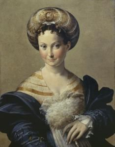 Parmigianino (Francesco Mazzola) Parma 1503–1540 Casalmaggiore Schiava Turca, ca. 1531–34 Oil on panel 26 3/4 x 20 7/8 in. (68 x 53 cm)Galleria Nazionale di Parma Painting of a half-length woman wearing a round headdress, big blue sleeves, and holding a white fan