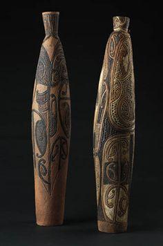 Ipu 1 — Vessels of Knowledge by Wi Te Tau Pirika Taepa, Māori artist Maori Designs, Maori Art, Tree Carving, Ceramic Pots, Vase, Gourd Art, Wooden Art, Ocean Art, Handmade Pottery