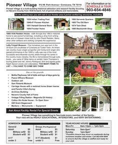 Pioneer Village Website Information