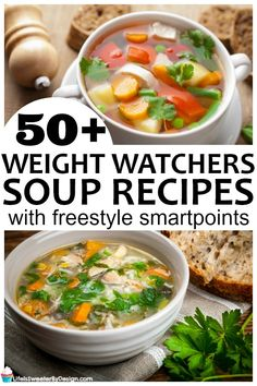 huge list of over 50 Weight Watchers Soup Recipes all have Freestyle SmartPoints figured. There are so many amazing soups for Weight Watchers! Weight Loss Soup, Weight Loss Meals, Weight Loss Drinks, Ww Recipes, Cooking Recipes, Healthy Recipes, Health Soup Recipes, Weightloss Soup Recipes, Healthy Snacks