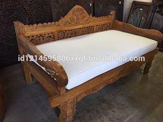 Balinese Teak Daybed w/ Sunbrella Cushions Indian Furniture, Unique Furniture, Outdoor Furniture, Garden Furniture, Furniture Design, Balinese Decor, Balinese Garden, Outdoor Daybed, Couches