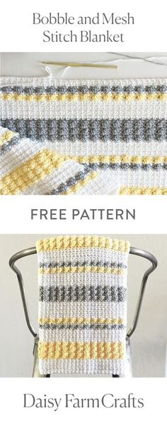 FREE PATTERN Bobble and Mesh Stitch Blanket by Daisy Farm Crafts ~ love the look of this as well as the colour choices Crochet Afghans, Afghan Crochet Patterns, Baby Blanket Crochet, Crochet Stitches, Free Crochet, Knit Crochet, Crochet Blankets, Baby Afghans, Crotchet Patterns