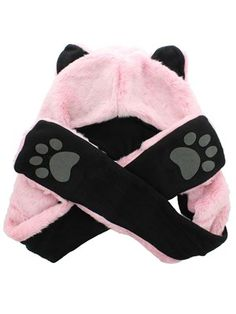 Faux Fur Animal Hat With Paws - Baby Pink Wolf