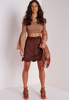 Faux Suede Scalloped Hem Skirt Dark Tan - Skirts - Faux Leather & Suede Skirts - Missguided