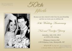 Th wedding anniversary invitation golden photo event th