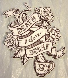 Death Before Decaf Embroidered Iron on by TheCrochetTowel on Etsy