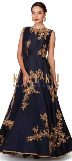 Buy Now https://www.kalkifashion.com/navy-blue-anarkali-suit-in-embroidered-butti-all-over-only-on-kalki.html