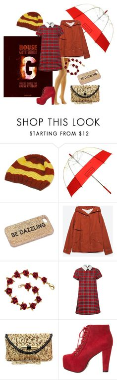"""""""Gryffindor: Rainy final exams day"""" by bibi-862 ❤ liked on Polyvore featuring Hunter, Kate Spade, Zara, Jimmy Choo and Miso"""
