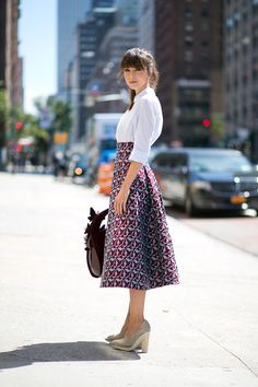Love high waisted skirts 161 street style snaps from New York Fashion Week that you won't want to miss: Fashion Week 2015, New York Fashion, Fashion Trends, Modest Fashion, Fashion Outfits, Lady Like, New Yorker Mode, Street Looks, New York Street Style