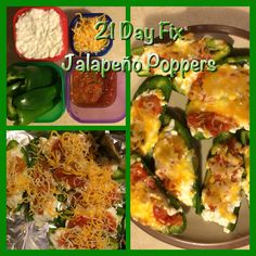 21 Day Fix Friendly Jalapeño Poppers   3 large jalapeño peppers (1 green) Small curd cottage cheese (1 red) Shredded cheddar jack (1 blue) A few spoons of homemade or low sodium salsa (1/4 purple)   ▪️Half the peppers and remove seeds. ▪️Fill halves with cottage cheese ▪️Top each with a spoon full of salsa ▪️Cover with shredded cheese ▪️Bake at 350 degrees until peppers are soft @45 min   More healthy recipes on my FB page: like Kacie Withers Fit Focus!