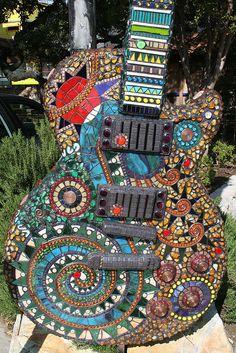 Wow! 10 ft Mosaic guitar in Austin TX by artist Aly Winningham. Photo by No No Joe