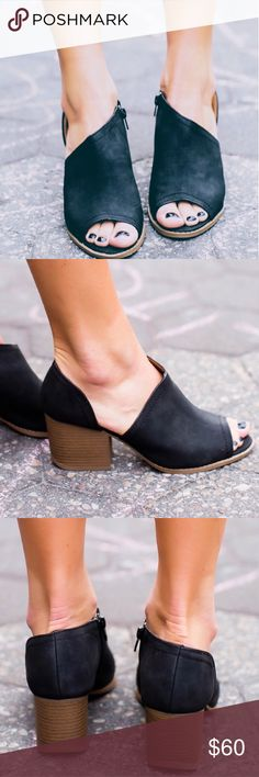 Black peep toe booties Vegan leather, chunky 2.5 inch heel with a side zipper. Perfect shoe to wear from spring til fall! Couture Gypsy Shoes Ankle Boots & Booties