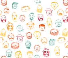 mr moostachio fabric by laura_the_drawer on Spoonflower - custom fabric