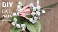 you could easily DIY this beautiful paper boutonniere, with my free template and step-by step video tutorial. Just take an hour to complete, for sure. Paper Origami Flowers, Rolled Paper Flowers, How To Make Paper Flowers, Tissue Paper Flowers, Paper Roses, Diy Wedding Flowers, Diy Flowers, Fabric Flowers, Flower Diy