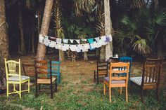 Woodsy Wedding, Forest Wedding, Rustic Wedding Inspiration, Vintage Handkerchiefs, Bunting Banner, Outdoor Events, Ladder Decor, Real Weddings, Cathedral
