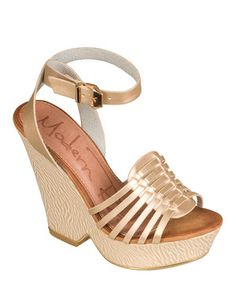 c4173e2be78 Gold Buckle Ibiza Platform Wedge on  zulily Strappy Wedges