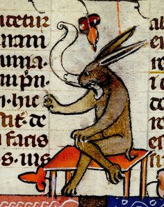 """Happy""/ ""Angry"" Rabbit. detail. France 13-14 cent. BL by tony harrison, via Flickr"