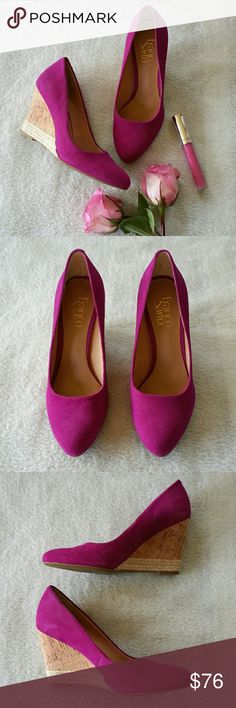 "Fuchsia wedges Fuchsia colored suede, cork wedge with braided rope detail at bottom of heel. Heel height just under 3 1/2"". Please ask any necessary questions prior to purchasing. No trades. Save even more with a bundle discount! Franco Sarto Shoes Wedges"