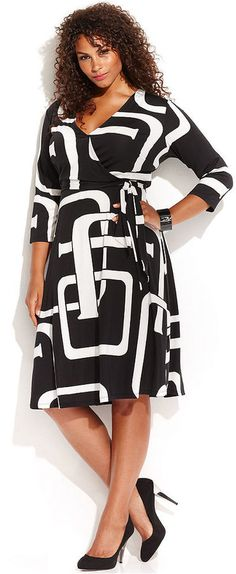 Plus Size Graphic-Print Faux-Wrap Dress #plus #size #fashion