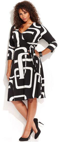 Plus Size Graphic-Print Faux-Wrap Dress #plus #size #fashion