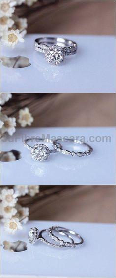 1ct Brilliant Moissanite Engagement Ring Set Solid 14K White Gold Wedding Ring Set Moissanite Ring Set / www.deerpearlflow...