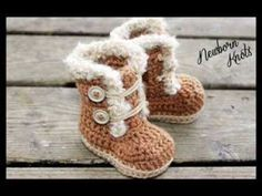 Big Bow Crochet Baby Booties - Newborn to 18 Month Sizes - YouTube